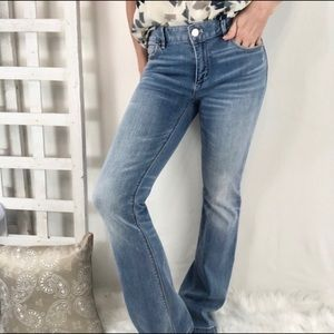 WHBM The Skinny Mid Rise Light Wash jeans boot